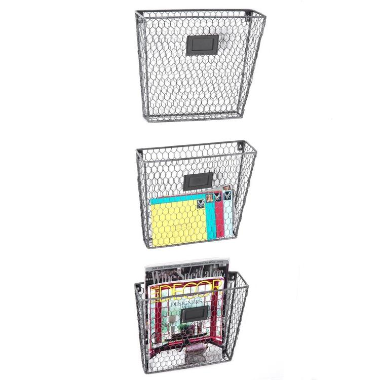 Rustic Wire Wall-Mounted File Organizer Rack w/ Chalkboard Labels, Set of 3 - MyGift Enterprise LLC