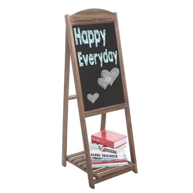 Rustic Wood A-Frame Erasable Easel Chalkboard w/ Shelf, Brown - MyGift