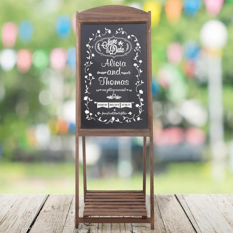 Rustic Wood A-Frame Erasable Easel Chalkboard w/ Shelf, Brown