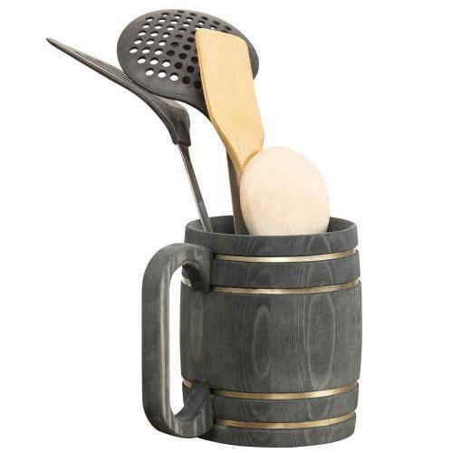 Rustic Wood Barrel Utensil Holder - MyGift