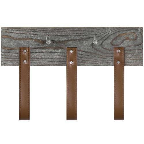 Rustic Wood Coat Rack with Leather Straps - MyGift