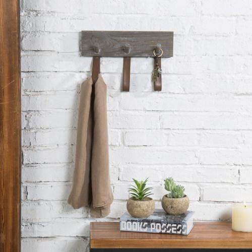 Rustic Wood Coat Rack with Leather Straps
