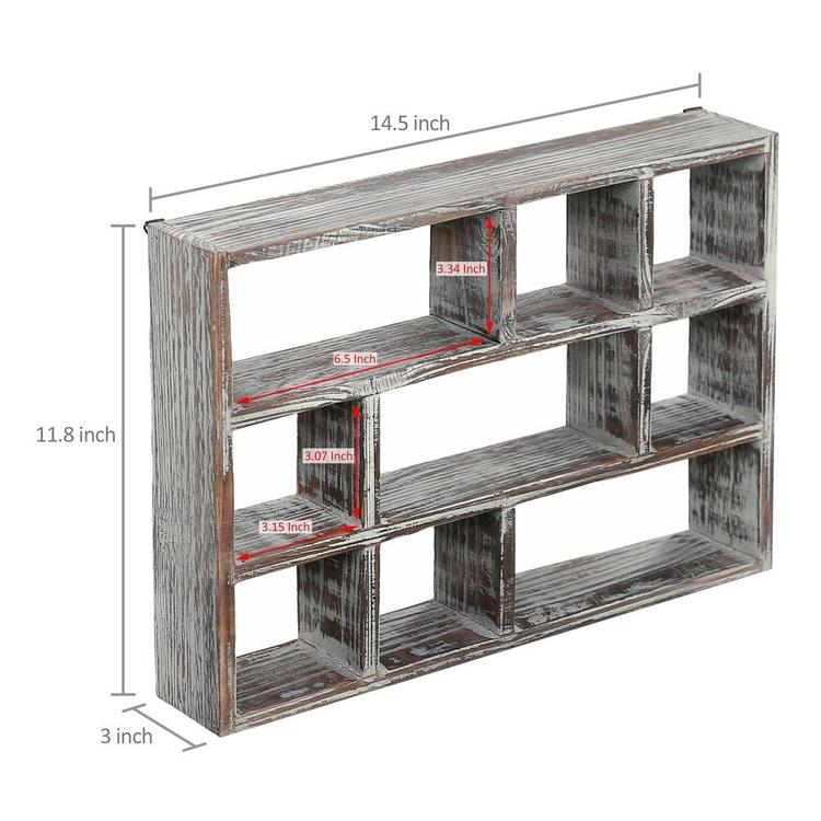9-Compartment Rustic Wood Freestanding & Wall Mountable Shadow Box Display Shelf - MyGift Enterprise LLC