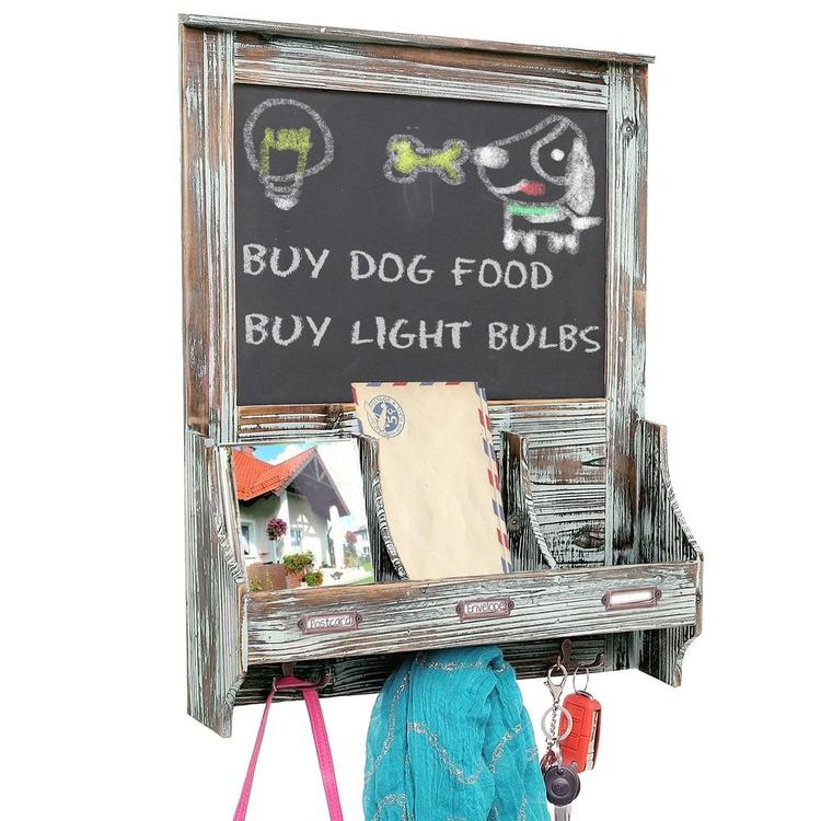Rustic Wood Wall Mounted Mail Organizer Rack w/ Key Hooks and Chalkboard Sign - MyGift Enterprise LLC