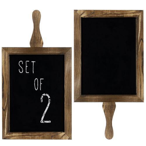 Rustic Wood Paddle Chalkboard Sign, Set of 2