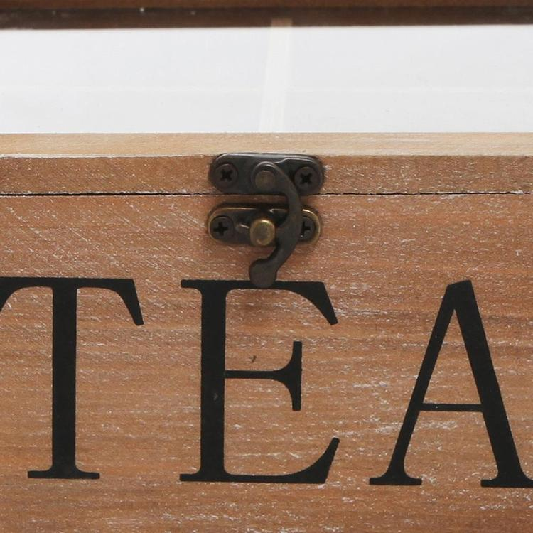 Rustic Wood Tea Bag Storage Chest with Clear Lid, Brown - MyGift Enterprise LLC