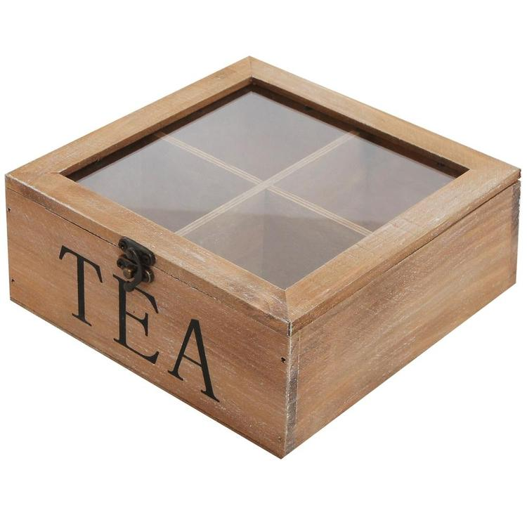 Rustic Wood Tea Storage Box with Clear Lid, Brown