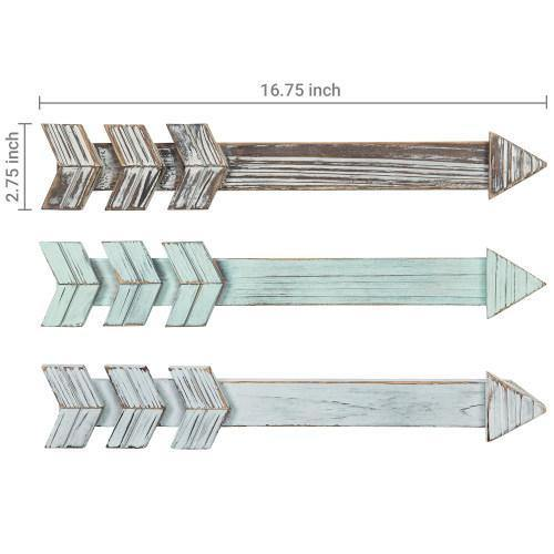Rustic Wood Wall Mounted Arrows, Set of 3 - MyGift