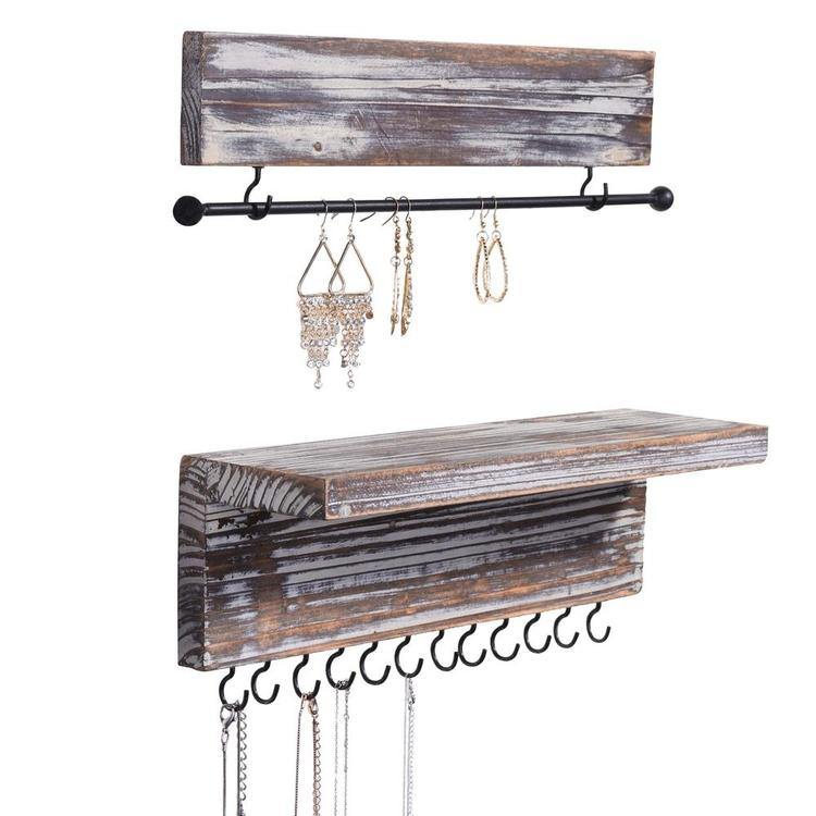 Rustic Wood Wall Mounted Hanging Jewelry Organizers, Set of 2 - MyGift Enterprise LLC