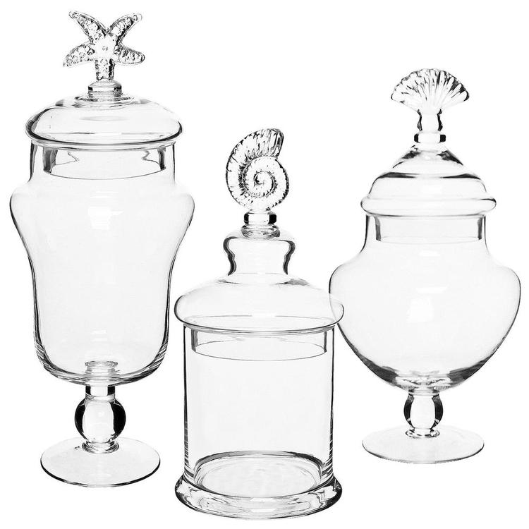 Seashell Handle Clear Glass Apothecary Jars / Food Storage Canisters, Set of 3 - MyGift Enterprise LLC