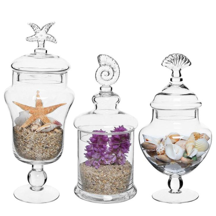 Seashell Handle Clear Glass Apothecary Jars, Set of 3