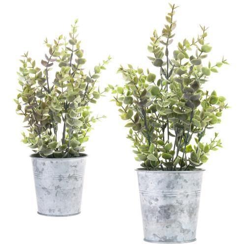 Set of 2 Artificial Lavender Plants in Silver Metal Pots