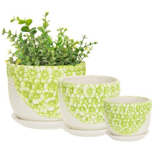Set of 3 Green & White Flower Ceramic Planter w/Saucers