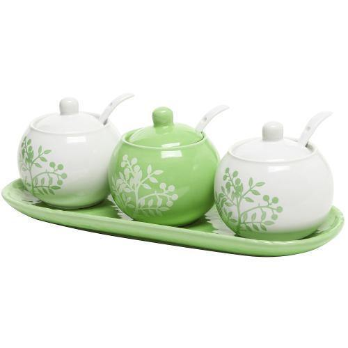 Set of 3 Lime Green & White Ceramic Condiment Pots w/tray