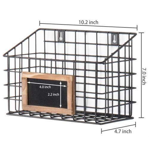 Set of 3 Wall-Mounted Rustic Wire Storage Baskets w/Chalkboard Labels - MyGift