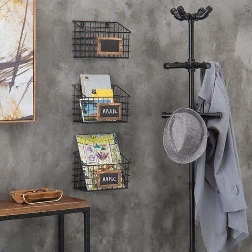 Set of 3 Wall-Mounted Rustic Wire Storage Baskets w/Chalkboard Labels