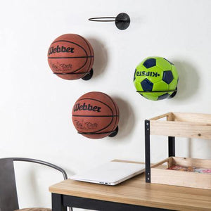 Set of 4 Black Metal Wall-Mounted Sports Ball Holder Rack