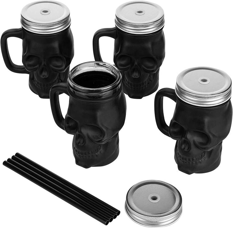 Set of 4 Matte Black Glass Skull-Shaped Drink Cups with Jar Lid & Straw
