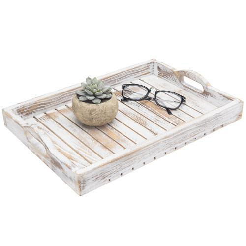 Shabby Chic Whitewashed Wood Serving Tray
