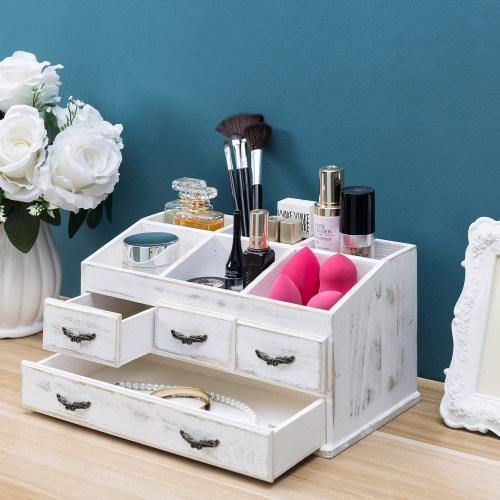Shabby Whitewashed Solid Wood Vanity Organizer with Drawers