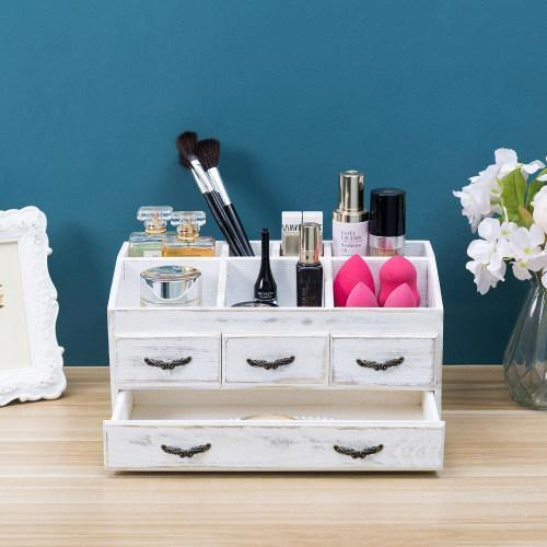 Shabby Whitewashed Solid Wood Vanity Organizer with Drawers - MyGift
