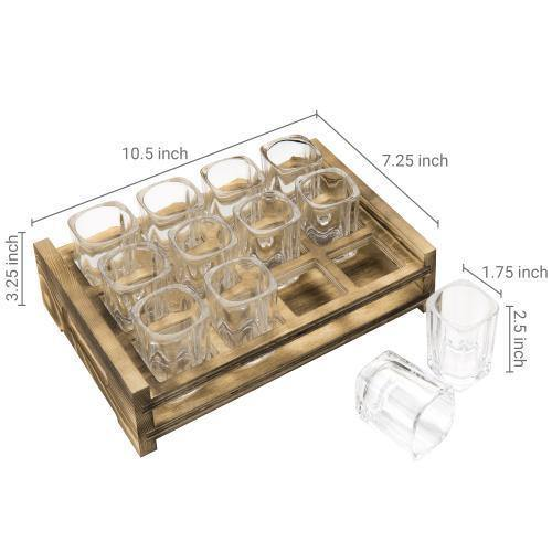 Shot Glass Server Tray with Rustic Burnt Wood - MyGift