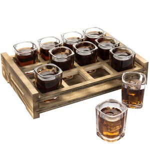 Shot Glass Server Tray with Rustic Burnt Wood