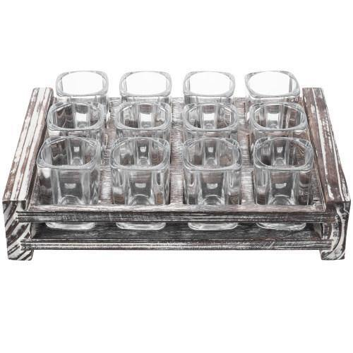 Shot Glass Server Tray with Rustic Torched Wood