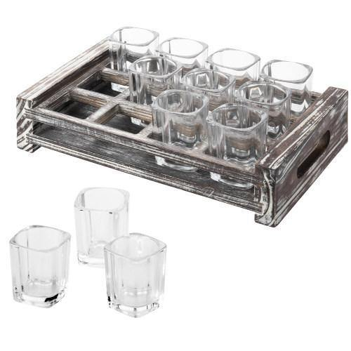 Shot Glass Server Tray with Rustic Torched Wood - MyGift