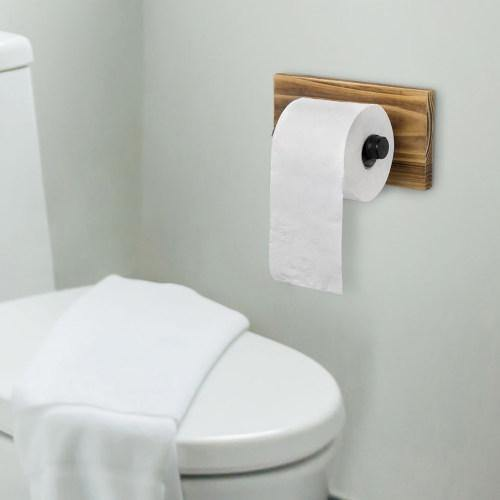Brown Wood and Industrial Pipe Toilet Paper Holder-MyGift