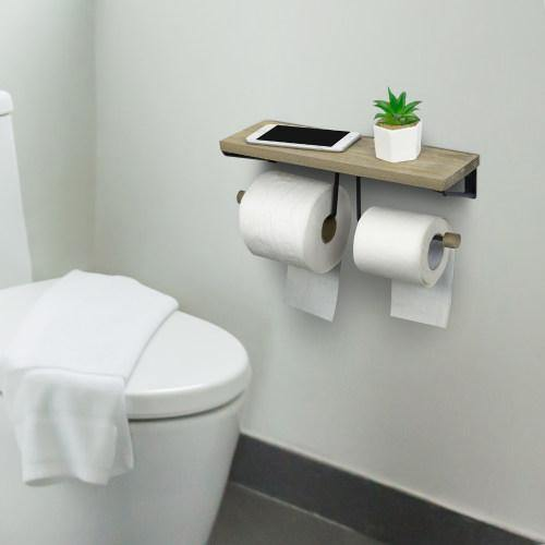 Gray Wood & Black Metal Dual-Roll Toilet Paper Holder-MyGift