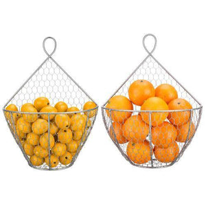 Silver Metal Chicken Wire Hanging Produce Baskets, Set of 2 - MyGift
