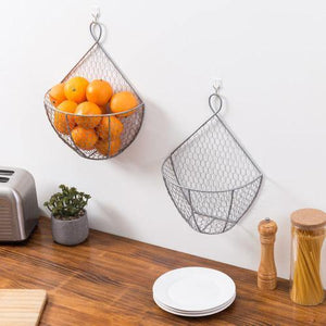 Silver Metal Chicken Wire Hanging Produce Baskets, Set of 2