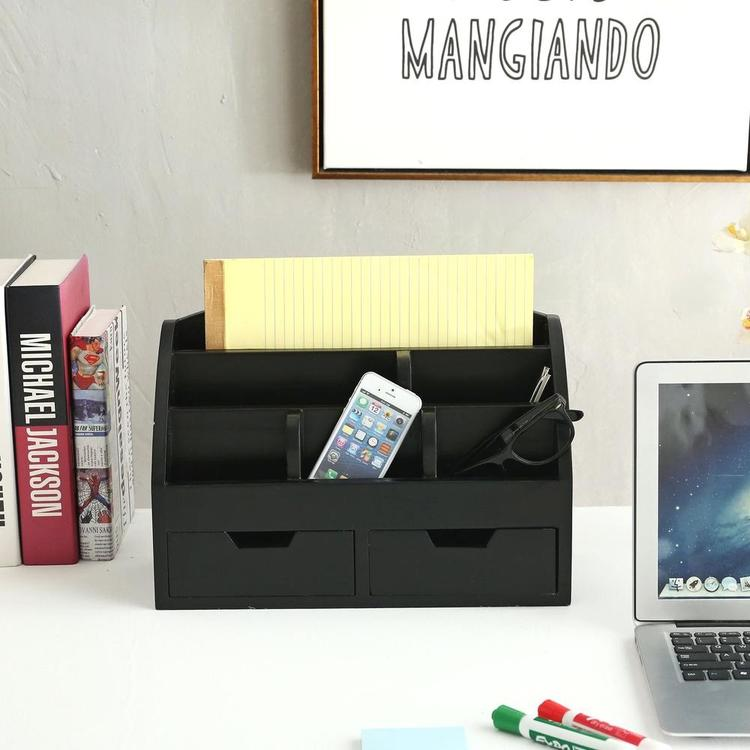 Simple Wood Desktop Organizer with 2 Drawers