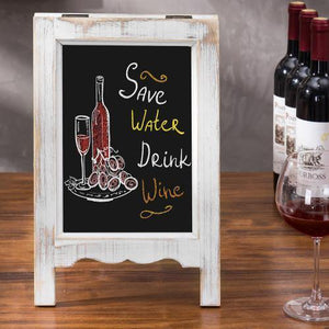 Small A-Frame Whitewashed Wood Tabletop Chalkboard Sign
