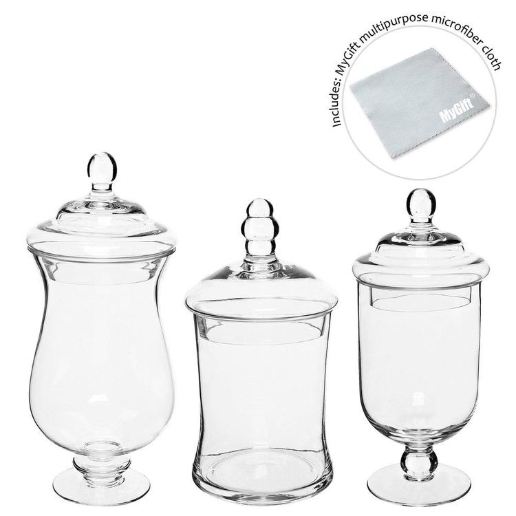 Small Clear Glass Storage & Display Canisters /  Apothecary Jars, Set of 3 - MyGift Enterprise LLC