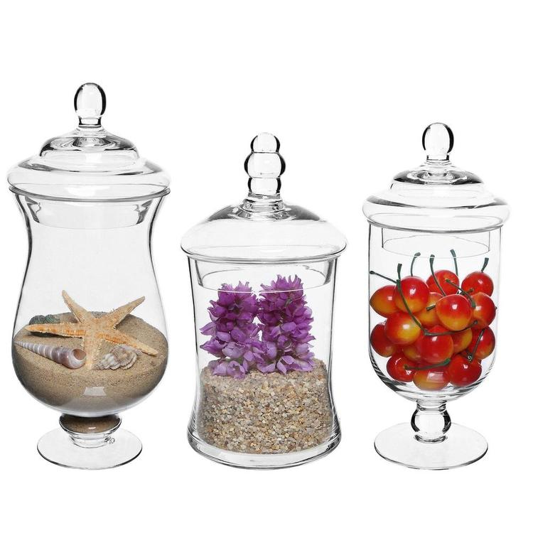Small Clear Apothecary Jars, Set of 3