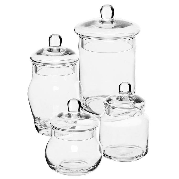 Small Glass Apothecary Jars with Lids, Set of 4 - MyGift