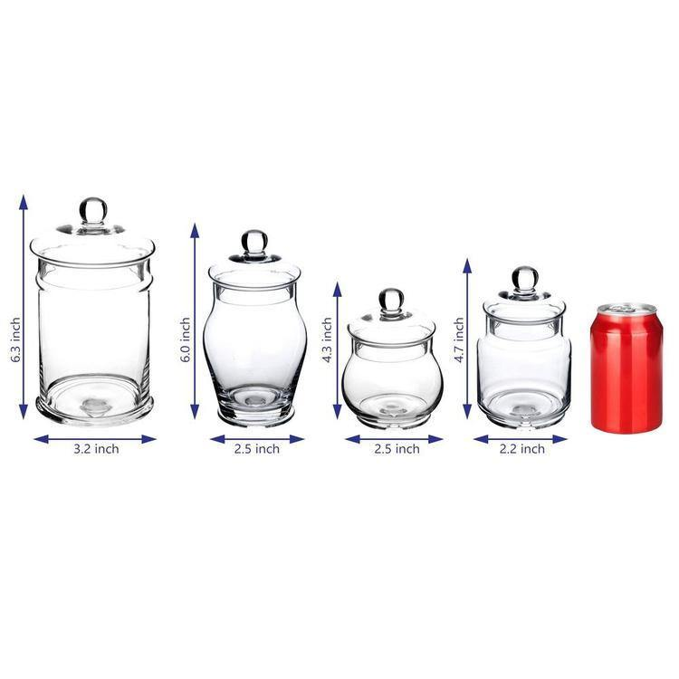 Small Decorative Clear Glass Apothecary Jars / Storage Canisters with Lids, Set of 4 - MyGift Enterprise LLC