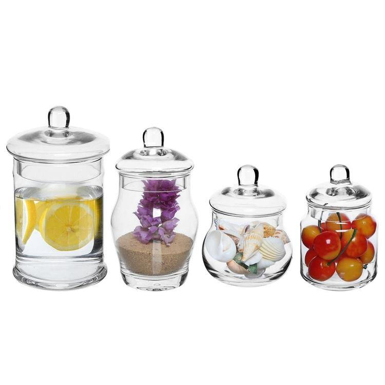 Small Glass Apothecary Jars with Lids, Set of 4