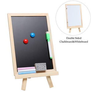 Small Wood Chalkboard Whiteboard Easel w/Chalks, Magnets & Marker