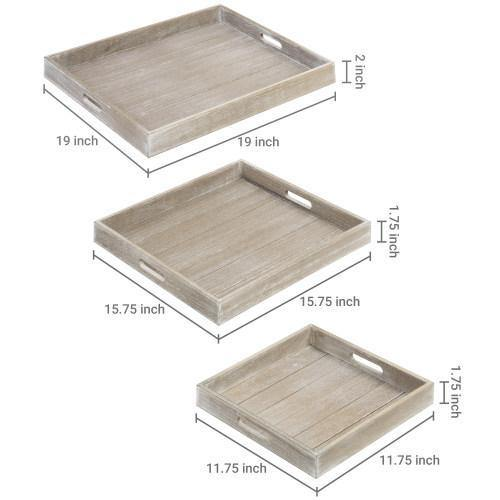 Square Wood Nesting Trays with Cutout Handles, Set of 3