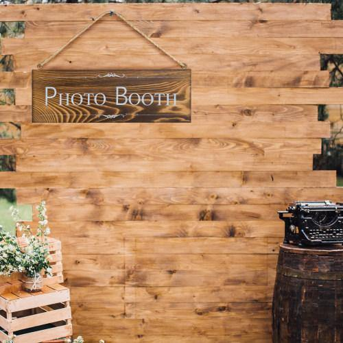 Rustic Dark Brown Wood Photo Booth Sign-MyGift
