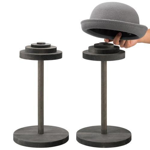 Stack-Up Style Gray Wood Hat Display Stands, Set of 2