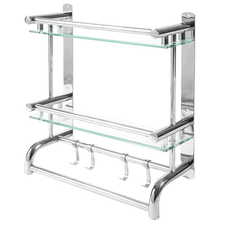 Wall Mounted Stainless Steel Bathroom Rack with 2 Glass Shelves & 2 Towel Bars with Hooks - MyGift Enterprise LLC