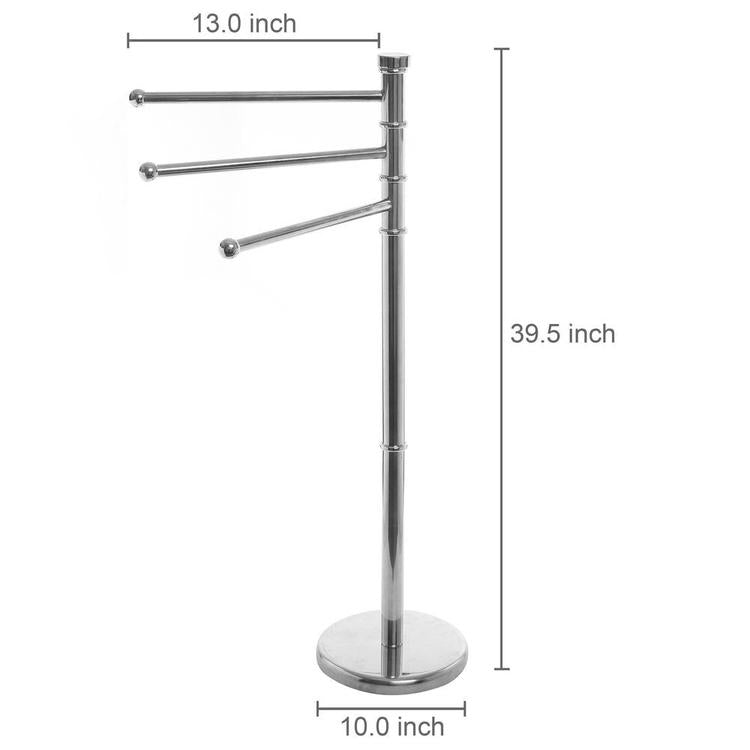 3 Tier Modern Stainless Steel Swivel Arm Towel Holder Rack - MyGift Enterprise LLC
