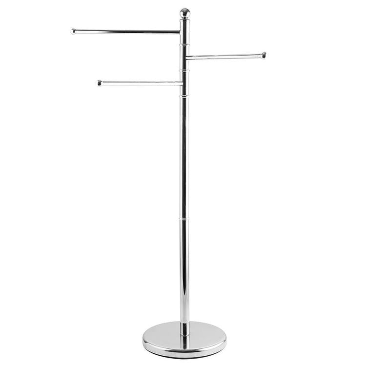 40 Inch Stainless Steel Bathroom  / Kitchen Towel Rack Stand with 3 Swivel Arms - MyGift Enterprise LLC