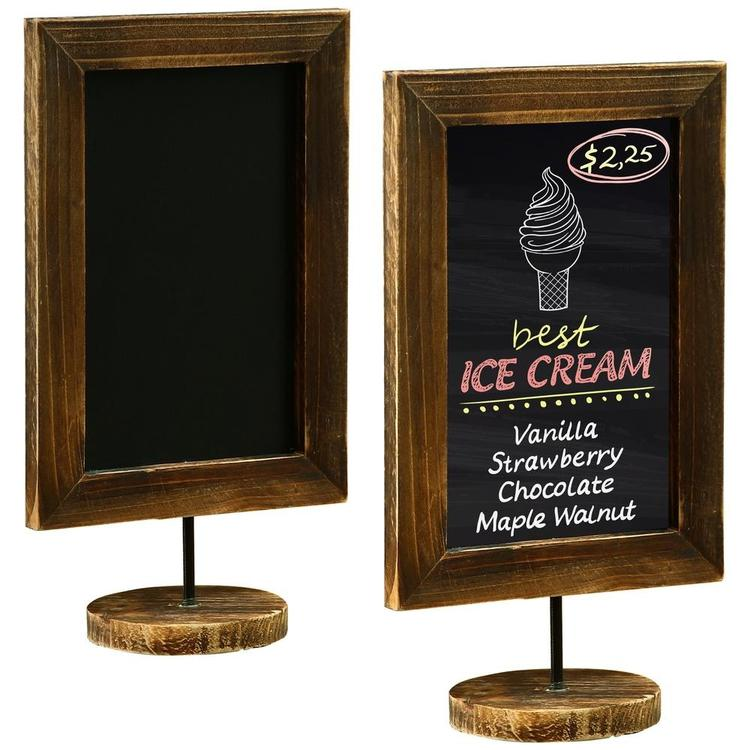 12-Inch Burnt Wood Framed Tabletop Chalkboard Cafe Menu Sign, Set of 2 - MyGift Enterprise LLC