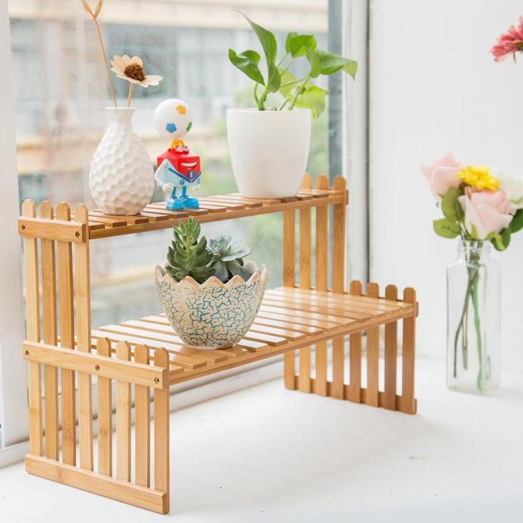 Tabletop Display Stand, Natural Bamboo Wood