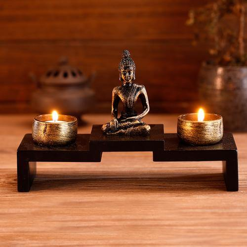 Mini Buddha Statue w/ Wood Base and 2 Tealight Holders